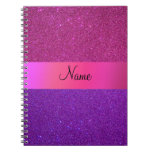 Personalized name pink purple glitter notebook