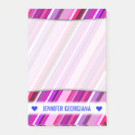 [ Thumbnail: Personalized Name; Pink, Purple Stripes Pattern Notes ]