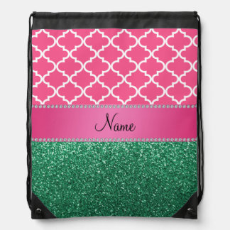 Personalized name pink quatrefoil green glitter drawstring backpack