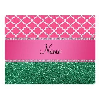 Personalized name pink quatrefoil green glitter postcard