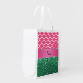 Personalized name pink quatrefoil green glitter grocery bag