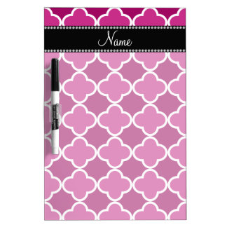 Personalized name pink quatrefoil pattern Dry-Erase board