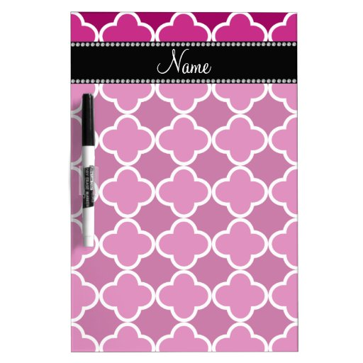 Personalized name pink quatrefoil pattern Dry-Erase boards