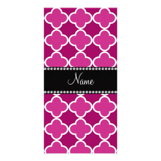 Personalized name pink quatrefoil pattern photo card