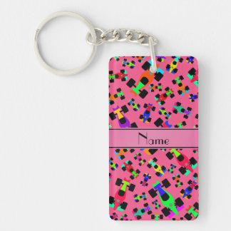 Personalized name pink race car pattern Single-Sided rectangular acrylic keychain