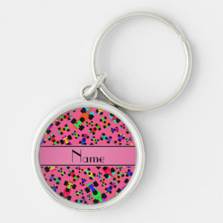 Personalized name pink race car pattern Silver-Colored round keychain