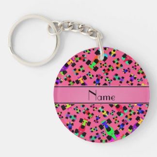 Personalized name pink race car pattern Single-Sided round acrylic keychain