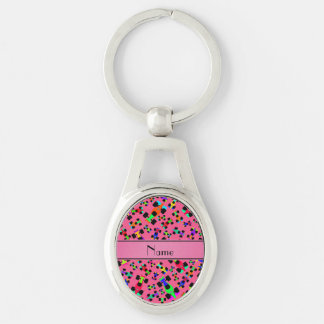 Personalized name pink race car pattern Silver-Colored oval metal keychain