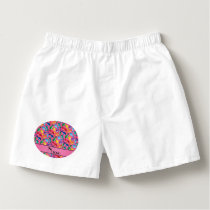 Personalized name pink rainbow blue whales boxers