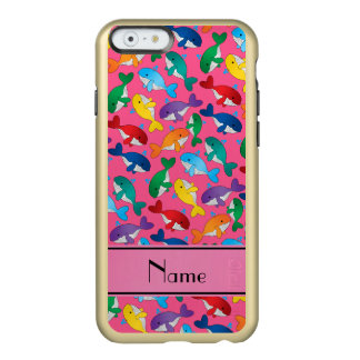 Personalized name pink rainbow blue whales incipio feather shine iPhone 6 case