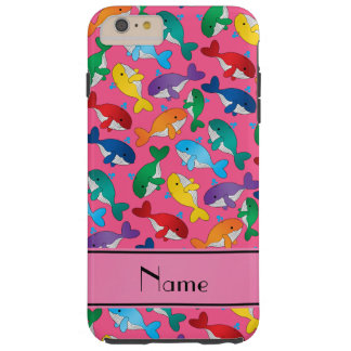 Personalized name pink rainbow blue whales tough iPhone 6 plus case