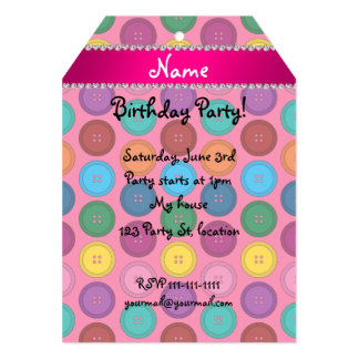 Personalized name pink rainbow buttons pattern 5x7 paper invitation card
