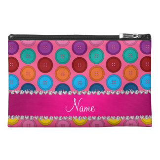 Personalized name pink rainbow buttons pattern travel accessory bag