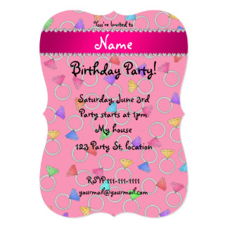Personalized name pink rainbow diamond ring 5x7 paper invitation card