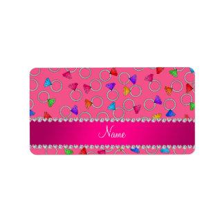 Personalized name pink rainbow diamond ring address label