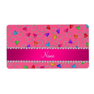 Personalized name pink rainbow diamond ring shipping label