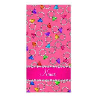 Personalized name pink rainbow diamond ring photo card