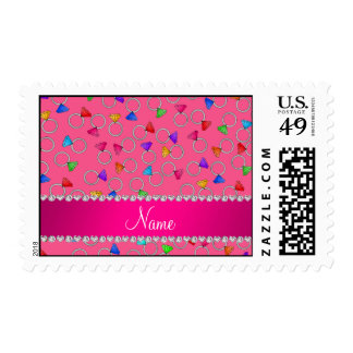 Personalized name pink rainbow diamond ring stamp