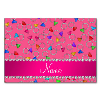 Personalized name pink rainbow diamond ring table cards