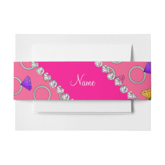 Personalized name pink rainbow diamond ring invitation belly band