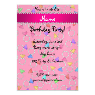 Personalized name pink rainbow diamond ring magnetic invitations