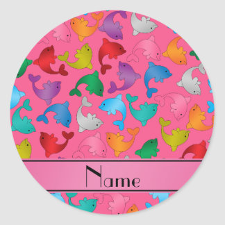 Personalized name pink rainbow dolphins classic round sticker