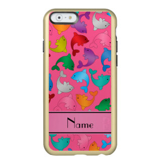 Personalized name pink rainbow dolphins incipio feather shine iPhone 6 case