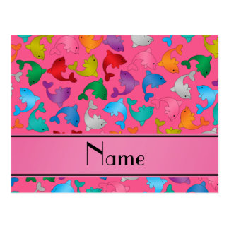 Personalized name pink rainbow dolphins postcard