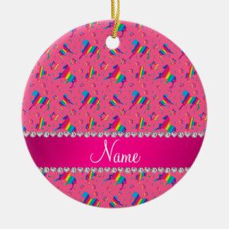 Personalized name pink rainbow horses stars ceramic ornament