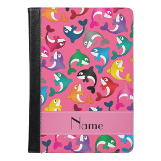 Personalized name pink rainbow killer whales iPad air case