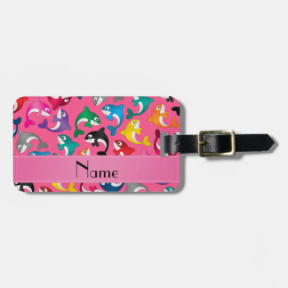 Personalized name pink rainbow killer whales luggage tag