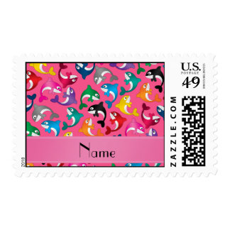 Personalized name pink rainbow killer whales postage