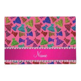 Personalized name pink rainbow leopard dresses placemat