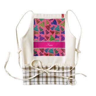 Personalized name pink rainbow leopard dresses zazzle HEART apron