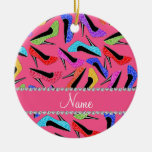 Personalized name pink rainbow leopard high heels ceramic ornament