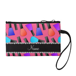 Personalized name pink rainbow nail polish coin purse