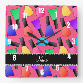 Personalized name pink rainbow nail polish square wallclocks
