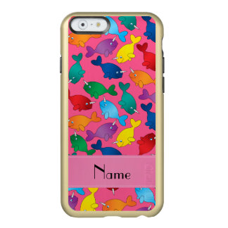 Personalized name pink rainbow narwhals incipio feather shine iPhone 6 case