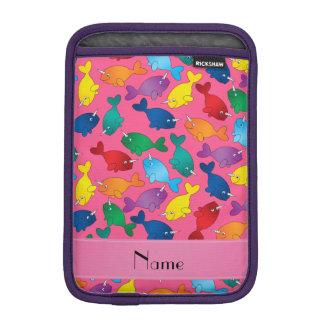 Personalized name pink rainbow narwhals iPad mini sleeve