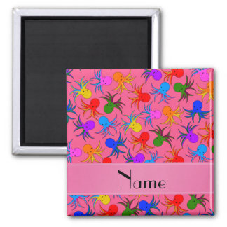 Personalized name pink rainbow octopus 2 inch square magnet