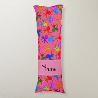 Personalized name pink rainbow octopus body pillow
