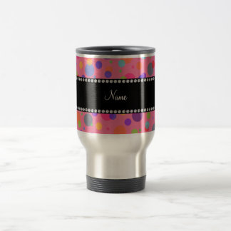 Personalized name pink rainbow polka dots 15 oz stainless steel travel mug