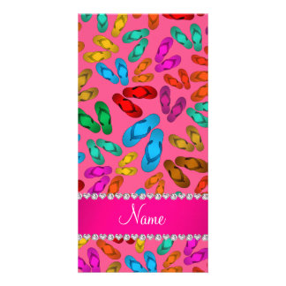 Personalized name pink rainbow sandals picture card