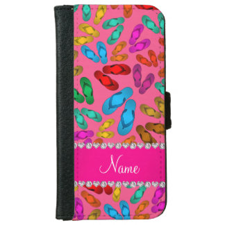 Personalized name pink rainbow sandals wallet phone case for iPhone 6/6s