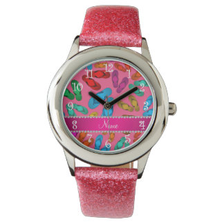 Personalized name pink rainbow sandals wristwatch