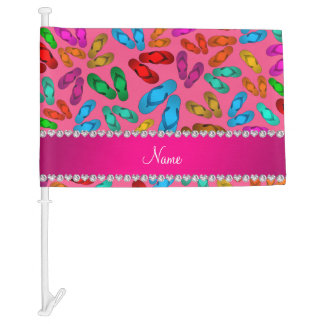 Personalized name pink rainbow sandals car flag