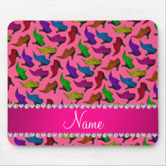 Personalized name pink rainbow vintage shoes mouse pad