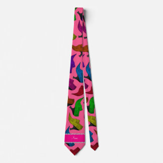 Personalized name pink rainbow vintage shoes tie
