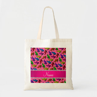 Personalized name pink rainbow vintage shoes tote bag