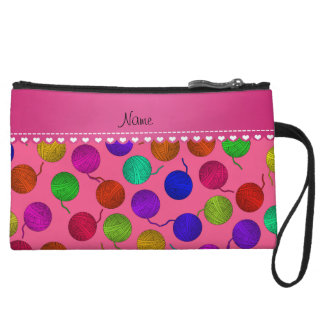 Personalized name pink rainbow yarn balls wristlet clutches